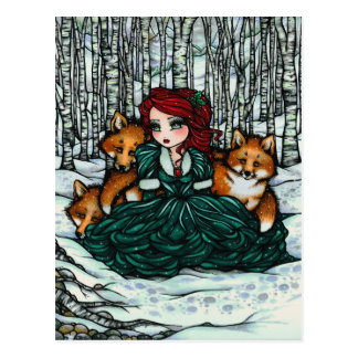 Winter Snow Foxes Forest Girl Fantasy Art Postcard