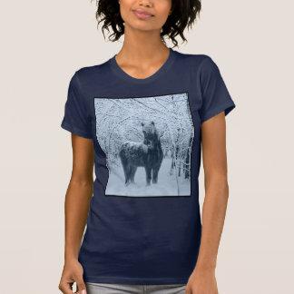 Winter snow horse t shirt