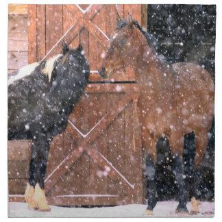 Winter Snow Horses in Barn Cloth Napkin