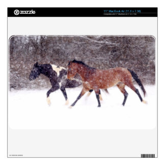 Winter Snow Horses in Barn Decal For MacBook