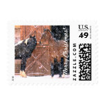 Winter Snow Horses in Barn Postage