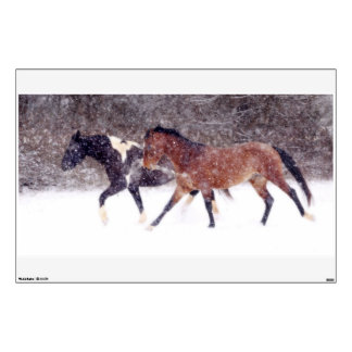 Winter Snow Horses in Barn Room Decal