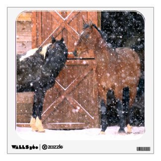 Winter Snow Horses in Barn Room Graphic