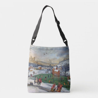 Winter Snow Ice Skaters Holland Pond Tote Bag