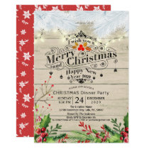 Winter Snow land Christmas & New Year Dinner Party Invitation