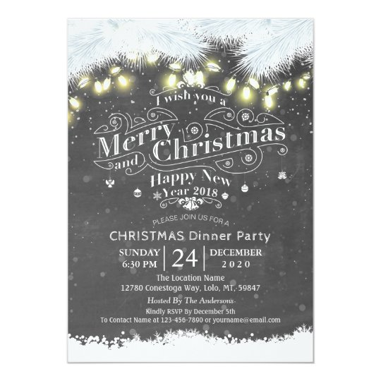 winter snow land christmas new year dinner party invitation