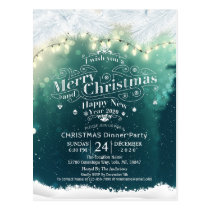 Winter Snow land Christmas & New Year Dinner Party Postcard
