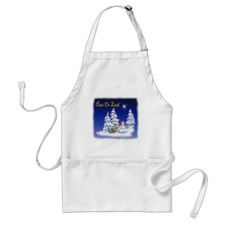 Winter Snow Man Peace on Earth Adult Apron