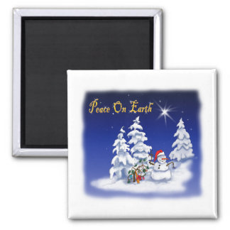 Winter Snow Man Peace on Earth Magnet