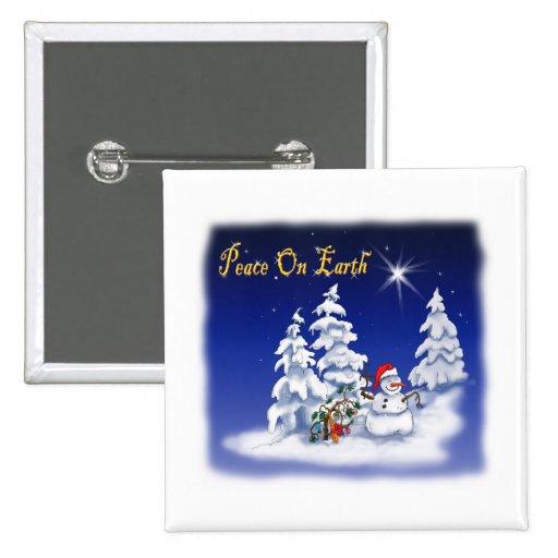 Winter Snow Man Peace on Earth Pin