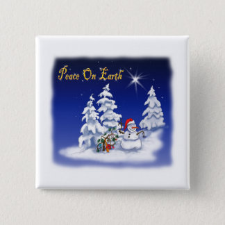 Winter Snow Man Peace on Earth Pinback Button