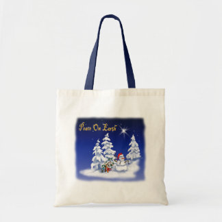 Winter Snow Man Peace on Earth Tote Bag