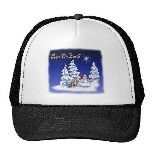 Winter Snow Man Peace on Earth Trucker Hat