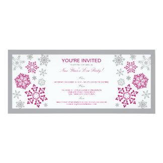 Winter Snow New Year's Eve Party Invitation (pink)