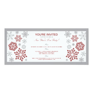 Winter Snow New Year's Eve Party Invitation (red)