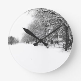 Winter Snow on Parley Street Round Clock