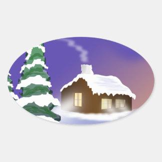 Winter snow oval sticker