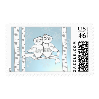 Winter Snow Owls Postage