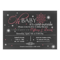 Winter Snow pink Couple's Baby shower Invitation