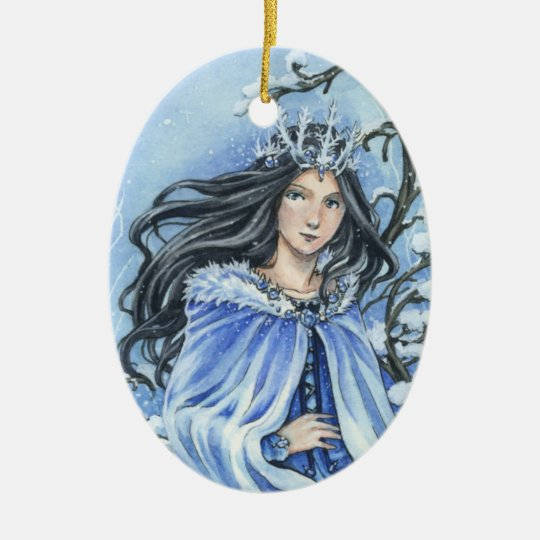 Winter Snow Queen fantasy ornament