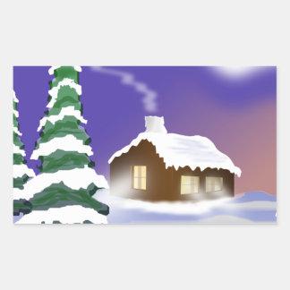 Winter snow rectangular sticker