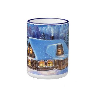 Winter Snow Scene December Happy Holidays Mug Mugs