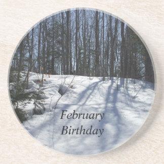 Winter Snow Scene-February Birthday Drink Coaster
