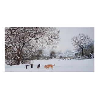 Winter snow scene landscape with trees dogs art poster
