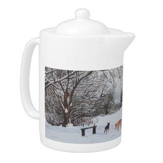 Winter snow scene landscape with trees dogs art teapot