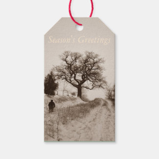 winter snow scene photographic art pack of gift tags