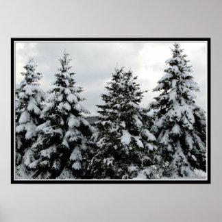 Winter snow scene posters