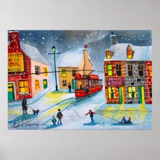 Winter snow scene red tram people town village poster