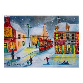Winter snow scene red tram people town village poster