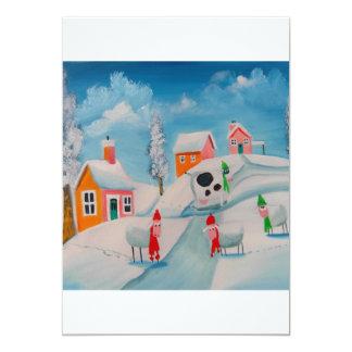 winter snow scene sheep folk art 5x7 paper invitation card