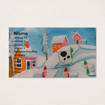 winter snow scene sheep folk art business card