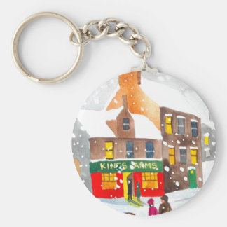 Winter snow scene watercolour painting G Bruce Basic Round Button Keychain