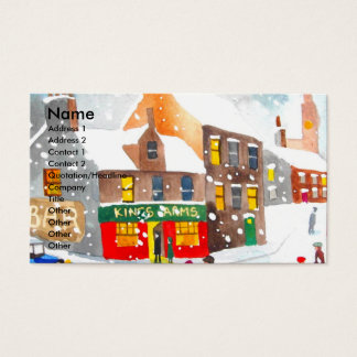 Winter snow scene watercolour painting G Bruce Business Card