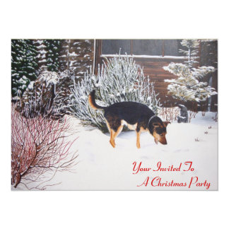 Winter snow scene with cute black and tan dog art card