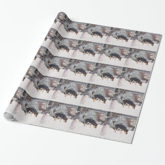 Winter snow scene with cute black and tan dog art wrapping paper