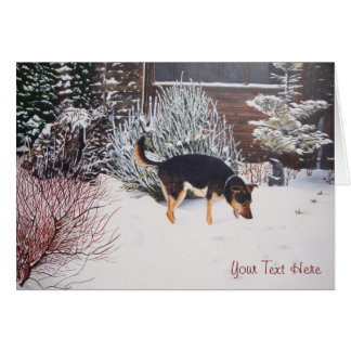 Winter snow scene with cute black and tan dog stationery note card