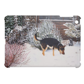 Winter snow scene with cute black and tan dog cover for the iPad mini