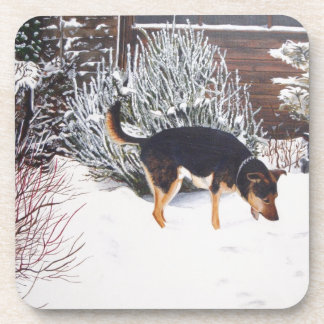 Winter snow scene with cute black and tan dog drink coaster