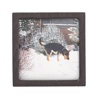 Winter snow scene with cute black and tan dog keepsake box