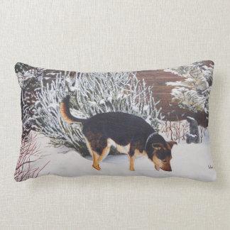 Winter snow scene with cute black and tan dog lumbar pillow