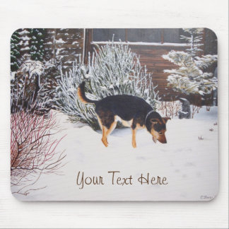 Winter snow scene with cute black and tan dog mouse pad
