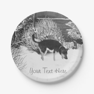 Winter snow scene with cute black and tan dog paper plate