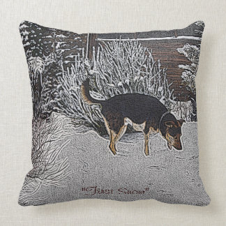 Winter snow scene with cute black and tan dog pillows