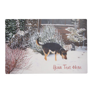 Winter snow scene with cute black and tan dog placemat