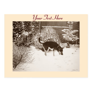 Winter snow scene with cute black and tan dog postcard