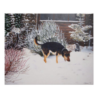 Winter snow scene with cute black and tan dog poster